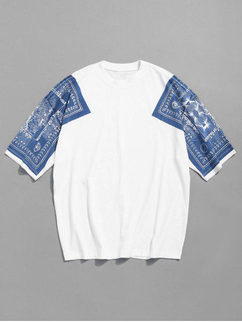 affordable Drop Shoulder Print Cotton Tee - WHITE L Mobile
