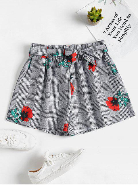 sale Flora Plaid Belted Shorts - BLACK S Mobile