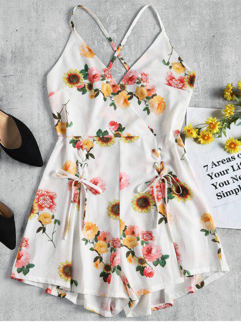 Rückenfreier Blumen Weites Bein Strampler - Weiß L Mobile