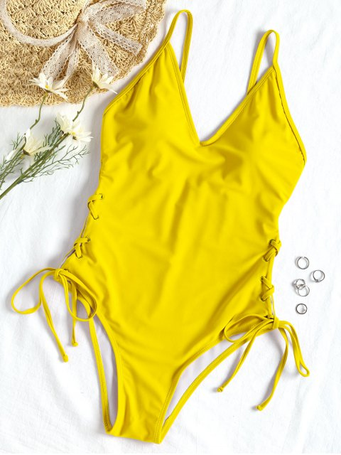 Traje de baño de una pieza con cordones - Amarillo L Mobile