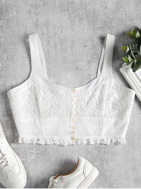 chic Pearly Button Lace Inset Crop Top - WHITE S Mobile