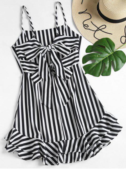 chic Knotted Back Striped Cami Dress - BLACK L Mobile
