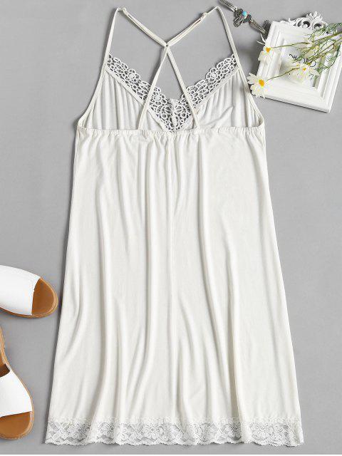 women Lace Trim Nightdress - MILK WHITE XL Mobile