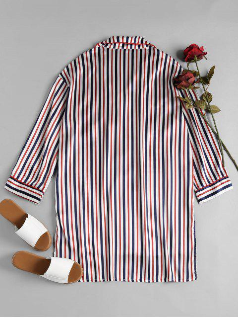 buy Striped Satin Sleep Shirt - MULTI M Mobile