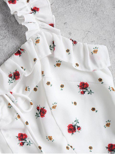 women Ruffles Lace Up Mini Dress - WHITE S Mobile