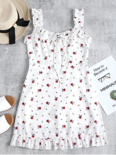 Vestido mini con volantes y volantes - Blanco L Mobile