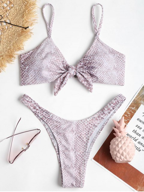 Conjunto de Bikini anudado con estampado de piedras preciosas - Multicolor L Mobile