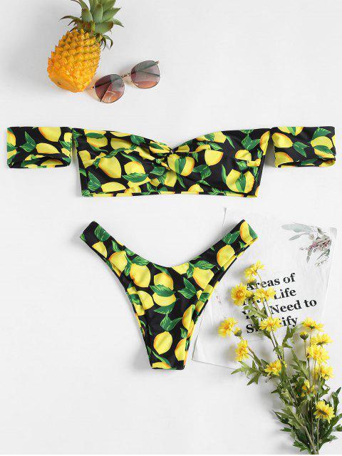 Bikini Coupe Haute Torsardé et à Epaules Dénudées Imprimé de Citron - Noir S Mobile