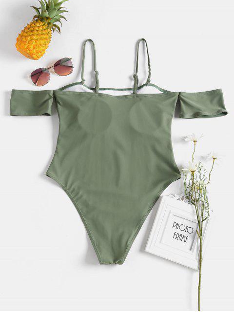 Traje de baño versátil con pierna alta y hombros descubiertos - Ejercito Verde S Mobile