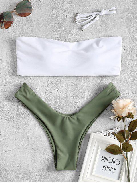 Zwei Farbe Hohe Schlitz Bikini Bademode - Grün M Mobile