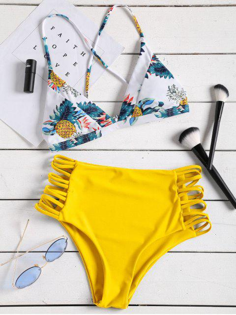 outfit Tropical Printed Strappy High Waisted Bikini Set - YELLOW M Mobile
