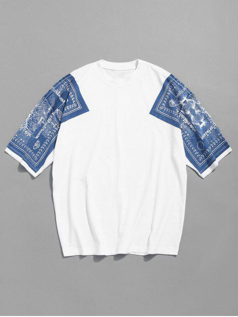 affordable Drop Shoulder Print Cotton Tee - WHITE L Mobile