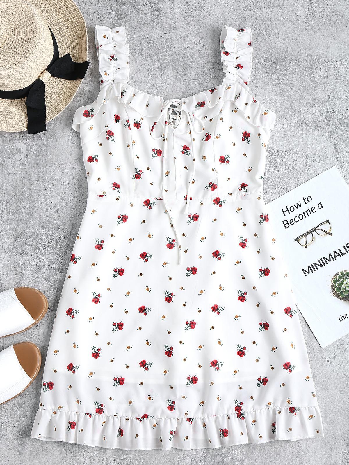 Ruffles Lace Up Mini Dress ZAFUL