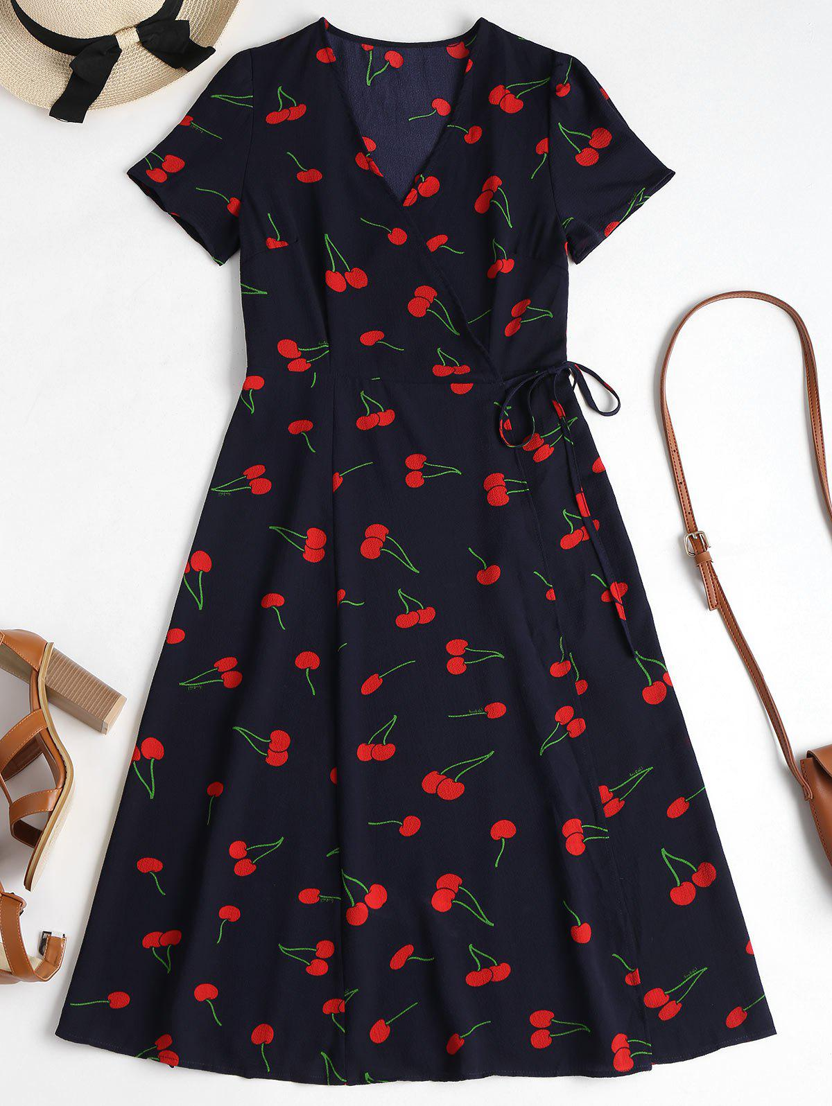 Cherry Print Wrap Midi Dress 262570801