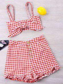 Gingham Ruffle Knotted Two Piece Set - أحمر L