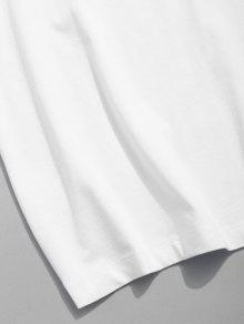 De Estampado M Blanco 243;n Hombros Con Con Estampado De Camiseta Algod n7U0wq