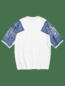 De 243;n Estampado Con Con Hombros M Blanco De Camiseta Estampado Algod EwxqPIIa