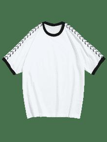 Corta 243;n En Contraste Camiseta Manga M Con Blanco De Algod EqnYYpwPX