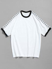 243;n Blanco Corta Camiseta M En Manga Algod Con De Contraste rXEaEH8