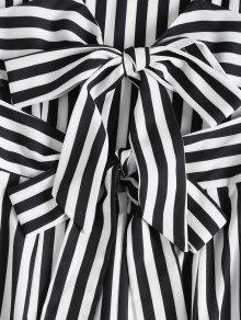 A S A Rayas Negro Vestido La Camisero Anudadas Espalda UfTwwx7q5