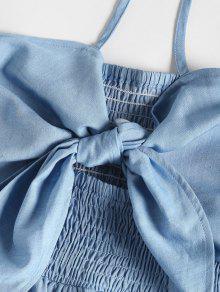 De Delanteras S Azul Vestido Jeans Capas Atadas De BAqvwU