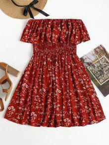 فستان مصغر سموكيد  - الكرز الاحمر L
