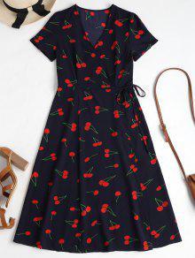 Cherry Print Wrap Midi Dress