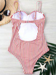 e39c7554656 21% OFF] 2019 Striped High Cut One-piece Swimsuit In RED | ZAFUL