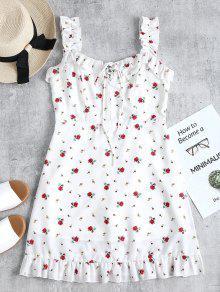 فستان رباط كشكش مصغر - أبيض S