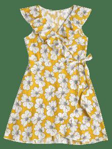 S Con Vestido Florales Volantes Y Volantes Mostaza WUHwBHYTq