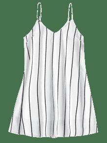 Rayas Midi M Blanco Vestido De Shift Slip PxvUnwq