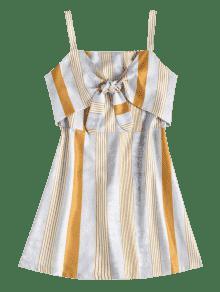 L Multicolor A Camisero Anudado Rayas Vestido apAw4