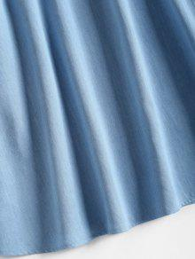 Vestido De Denim Bajo Corte Anudado Azul S rr5q7a