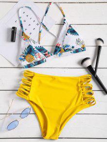 Tropical Printed Strappy High Waisted Bikini Set - الأصفر M