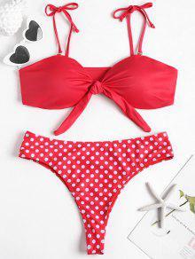 Tie Front Plus Size العصابة بيكيني مجموعة - أحمر L