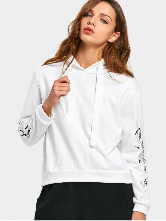 lady Flower Embroidered Patch Hoodie - WHITE M
