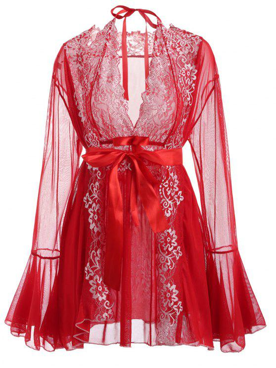 Conjunto de lencería de encaje y malla - Amo Rojo Talla única