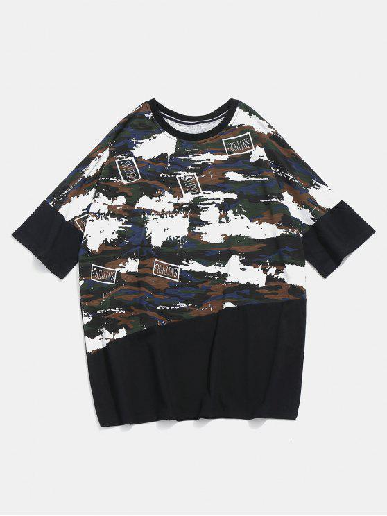 trendy Camo Half Sleeve Tee - BLACK XL