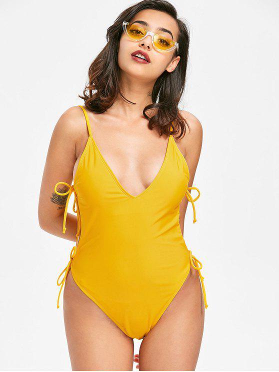 Swimsuit de corte alto com gravata lateral - Mostarda L