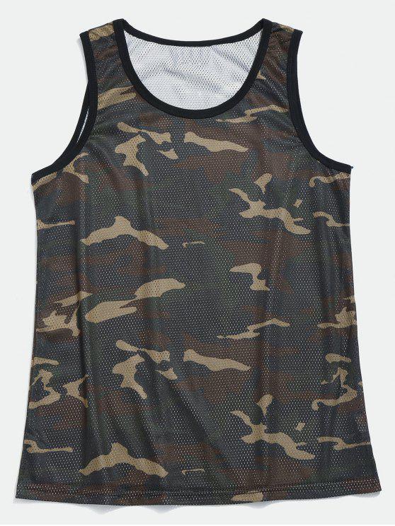 Camisola de alças do basquetebol de Camo da malha - Verde de Camuflagem M