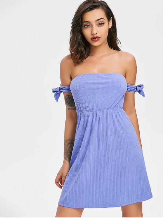 fashion Bowknot Ribbed Mini Dress - LIGHT SLATE BLUE M