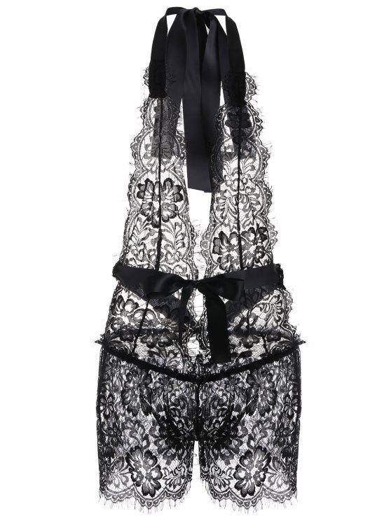 fancy Halter Lace Playsuit - BLACK M