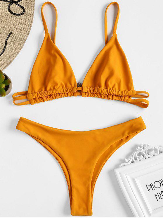 ladies Bralette High Leg Thong Bikini - DARK ORANGE S