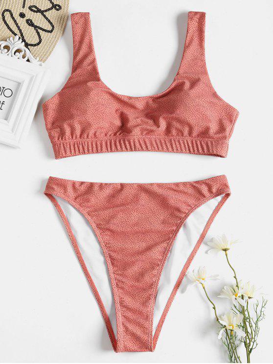 Bikini de pierna alta con lunares - Coral L