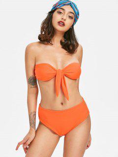 Tie-front Bandeau Bikini Set - Fluorescent Orange S