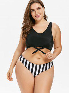 Plus Size Striped U Neck Bikini - Black 1x