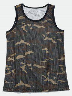 Mesh Camo Basketball Tank Top - Camouflage Green Xl