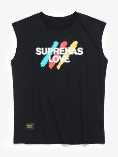 Patterned Casual Tank Top - Black M