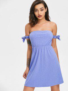 Bowknot Ribbed Mini Dress - Light Slate Blue L
