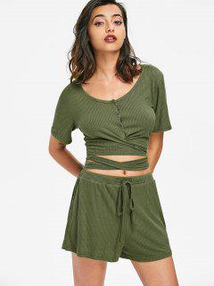 Buttoned Wrap Top And Shorts Set - Army Green M